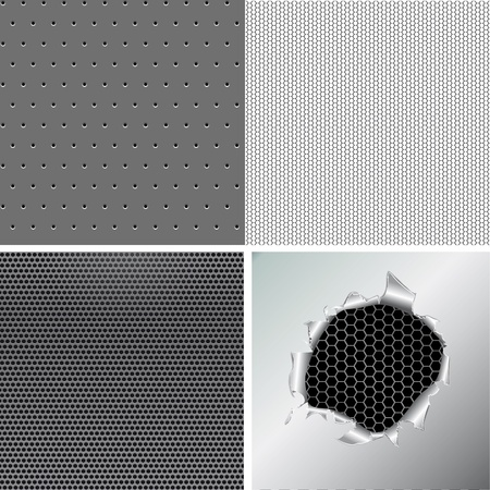 Set metallic background, hexagon, circle, hole in the metal paper. Vector illustration Vector