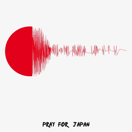 Japan Flag with text Pray for Japan. Earthquake in Japan, March 2011. Vector