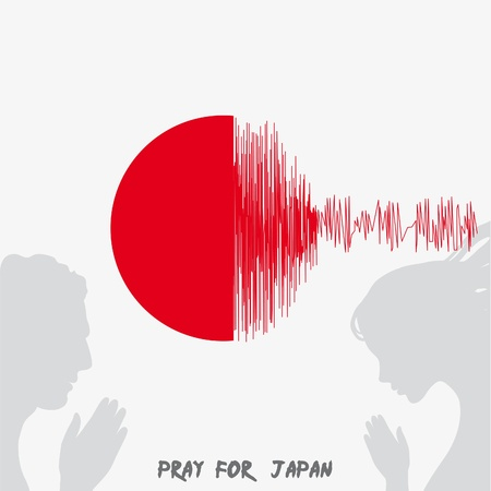 quake: Japan Flag with text Pray for Japan. Earthquake in Japan, March 2011.