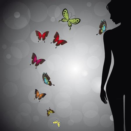 Seksuele vrouw silhouet meisje met kleurrijke vlinder op de achtergrond bokeh. Gezicht profiel. Vectorillustratie