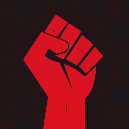 rebel: Clenched fist hand held high in protest on seamless background. Illustration