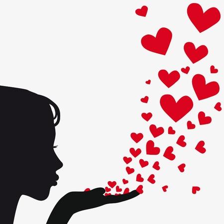kiss lips: Mano de silueta de mujer. Ni�a bonita soplando el coraz�n. Fondo plano. Ilustraci�n vectorial.