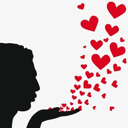 zoenen: Profile man gezicht, silhouet hand. Knappe vriendje waait hart. Tekening achtergrond. Prachtige vectorillustratie.