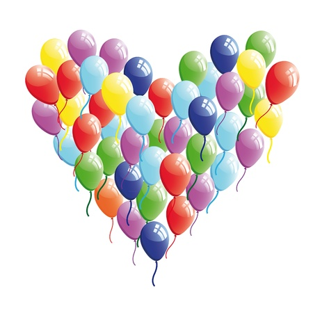 kids birthday party: Abstract heart balloon .  Concept illustration. Valentine Day card.