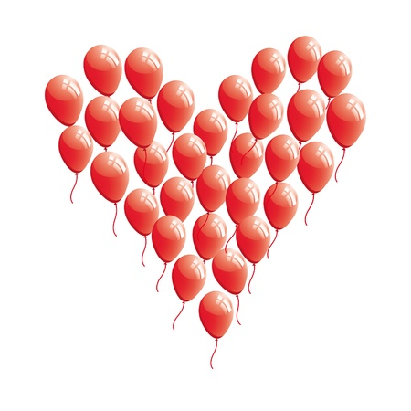 lovestruck: Red abstract heart balloon . Concept love illustration. Valentine Day card.