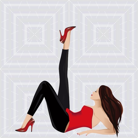 Beautiful up leg of woman in fashion shoe on seamless background.  Vector