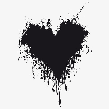 Grunge heart ink blood . Love splash splatter illustration. Vector