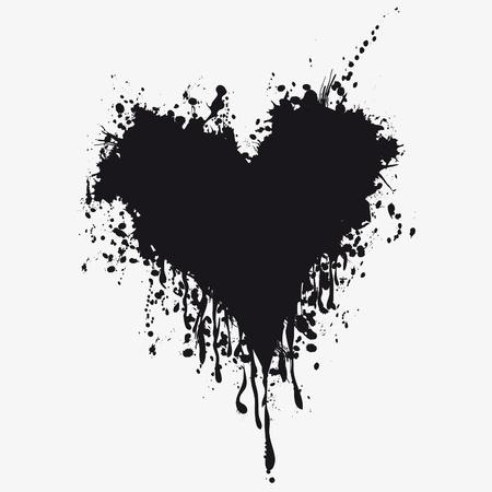 blutspritzer: Grunge Herz Tinte Blut. Liebe platsch Splatter Abbildung.