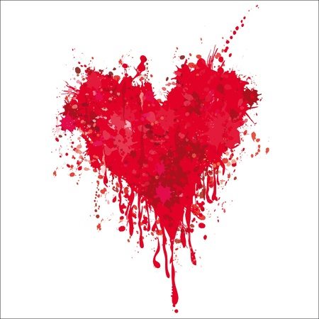 Grunge heart ink blood vector. Love splash splatter illustration.