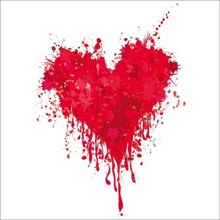 Grunge heart ink blood vector. Love splash splatter illustration.