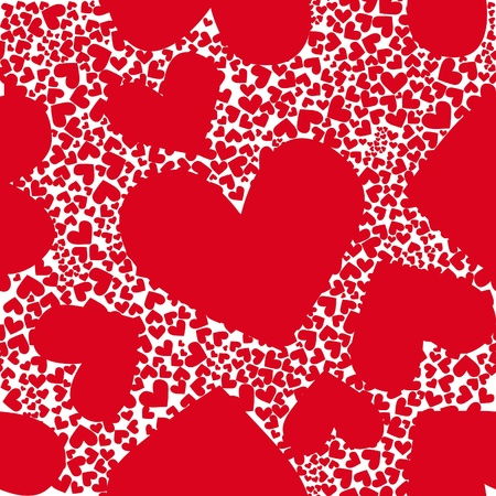 Red pattern heart background seamless .Valentine day illustration. Cute graphic art wallpaper. Romantic ornament. Stock Vector - 9560789