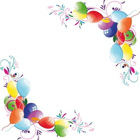 Floral Balloon Background, Birthday Frame, Design Element, Vector ...