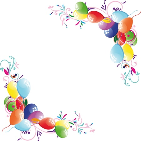 streamers: Fondo floral globo, marco de cumplea�os, elemento de dise�o, ilustraci�n vectorial. Vectores