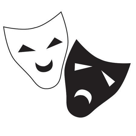 melancholy: Theater vectormasker geïsoleerd illustratie karakter tragedie en komedie.