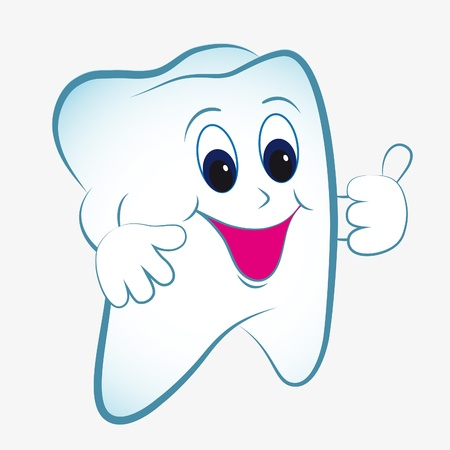 tooth root: Cartoon tooth vector with thumb