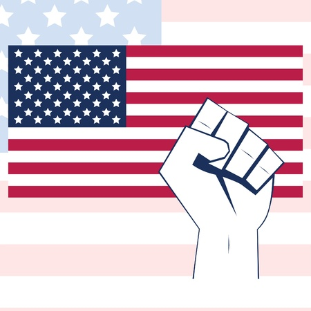 USA flag vector with fist. Independence background. American freedom illustration. Vector