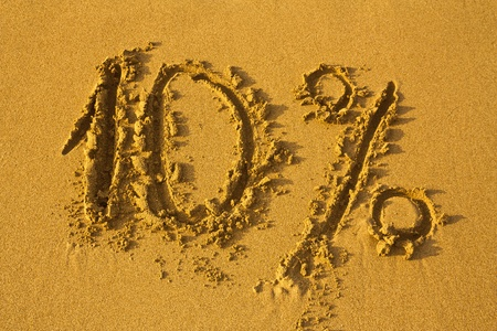 Discount 10% on clean sand. Sale summer background.