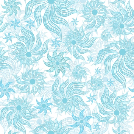 Abstract art blue flower seamless background pattern, floral vintage illustration. Cute, filigree wallpaper with flourishes. Vector