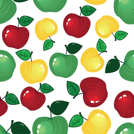 summer diet: fruit icon. Apple seamless background. Fabric pattern. Tile wallpaper.