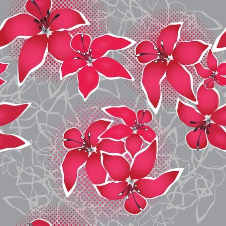 Grunge seamless flower background pattern, floral vintage illustration. Cute backdrop Vector