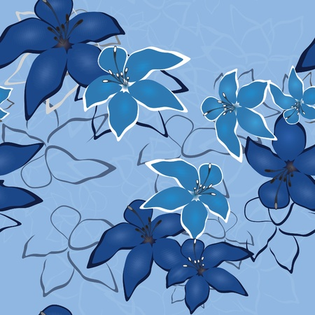 Blue seamless flower background pattern, floral vintage illustration. Cute backdrop in jeans style. Vector