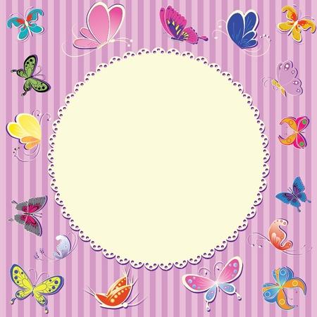 unisex: Tarjeta de felicitaci�n de marco retro unisex para beb�. Invitaci�n de cumplea�os.