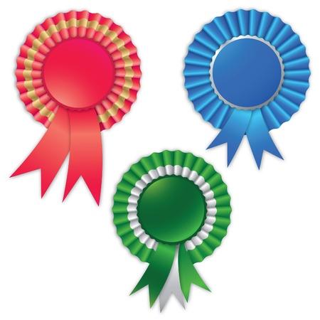 Blank award ribbon rosette for winner isolated on white.  Vector