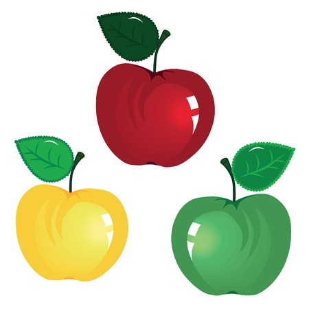 yellow apple: fruit icon. Apple isolated on white background. Element for design.