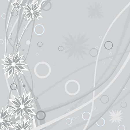 Floral background with grunge flower with curl and border. Spring nature illustration. Filigree flourishes Vector