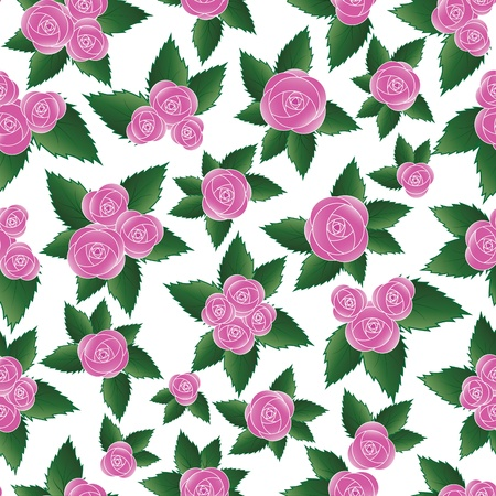 Pink rose seamless flower background pattern, floral vintage illustration. Cute backdrop. Stock Vector - 9902179