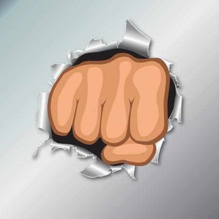 overturn: Facciata della mano a pugno chiuso. Concetto di rivolta. Punch, forte, illustrazione di sciopero. Vettoriali