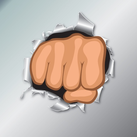 punch holes: Front view of clenched fist hand. Revolt concept. Punch, strong, strike illustration.