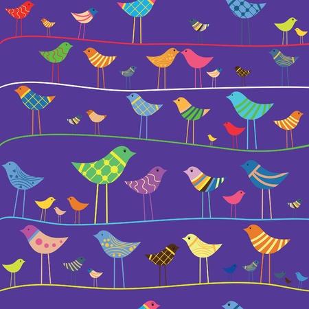 Retro funny bird. Seamless pattern. Design element. Stock Vector - 9902240