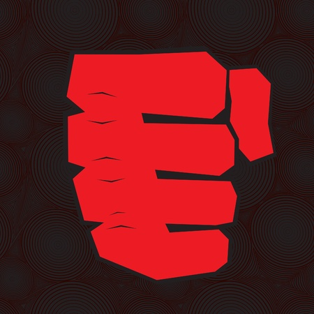 Red clenched fist hand. Victory, revolt concept. Revolution, solidarity, punch, strong, strike, change illustration. Vector