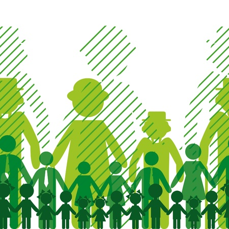Ecology icon, family background. Seamless generation communication people. Social network chain. Vector
