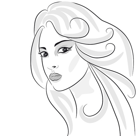 Beauty girl face sketch, woman portrait. Hair wavy. Design element Stock Vector - 10014581