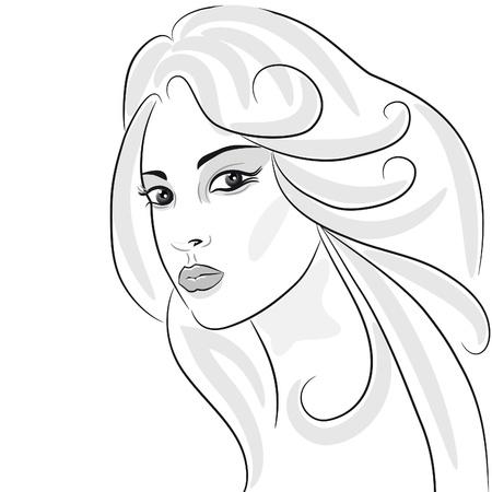 Beauty girl face sketch, woman portrait. Hair wavy. Design element Stock Vector - 10014581