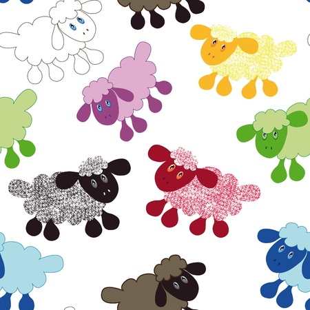 Seamless wallpaper pattern cartoon sheep lamb illustration background Vector