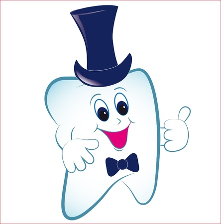 cavity: Happy cartoon tooth vector with thumb and hat. Invite illustration. Illustration