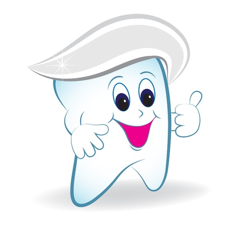 Cartoon tooth with thumb and toothpaste. Vector