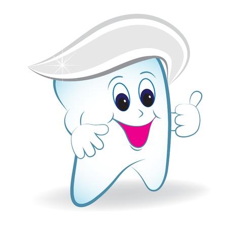diente caries: Diente de dibujos animados con el pulgar y pasta de dientes.