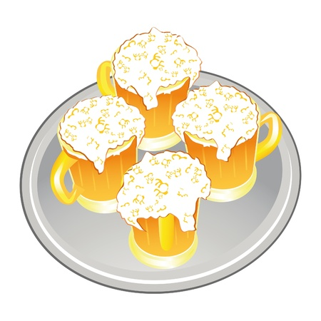 Light beer mug or goblet on silver tray. Stock Vector - 10014597