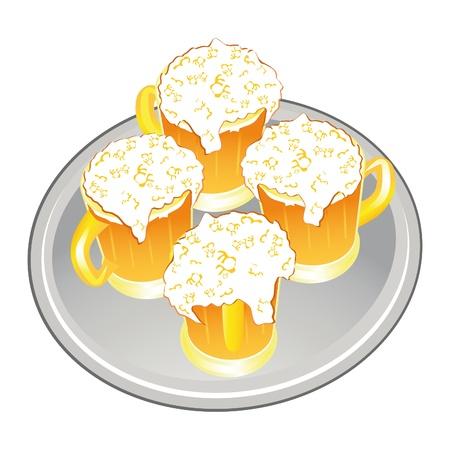 condense: Light beer mug or goblet on silver tray.