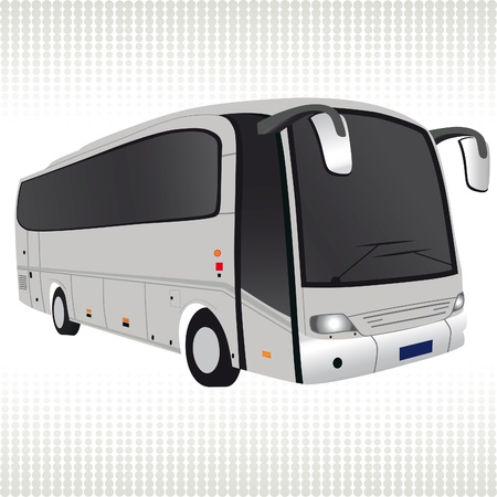 motor coach: White bus. Traffic, transport illustration
