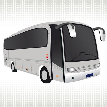 bus parking: White bus. Traffic, transport illustration