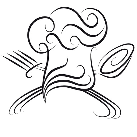 spoon fork: Ornate chef hat with spoon and fork icon for menu. Cooking background. Illustration