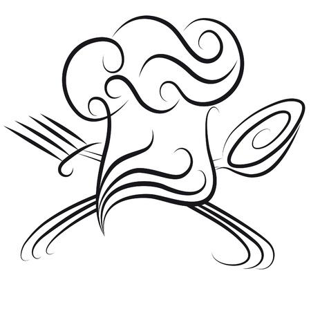 gorro chef: Sombrero de chef ornamentada con cuchara y tenedor de icono para el men�. Fondo de cocina.