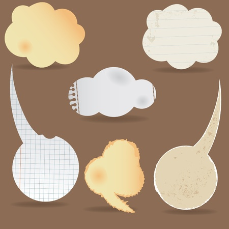 old notebook: Paper speech bubble. Dialog cloud. illustration. Elements for design. Illustration