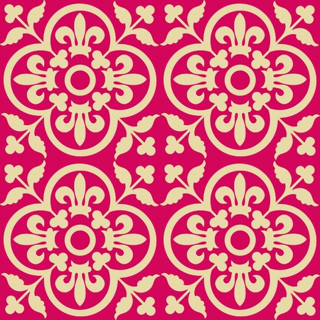 rococo: Red royal pattern. Seamless wallpaper. Retro background
