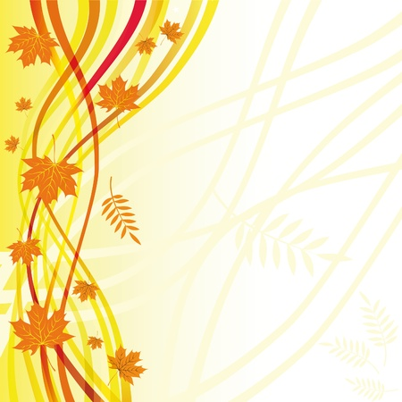 Yellow floral background. Autumn vector. Nature with curl and border. Eps10. Vector
